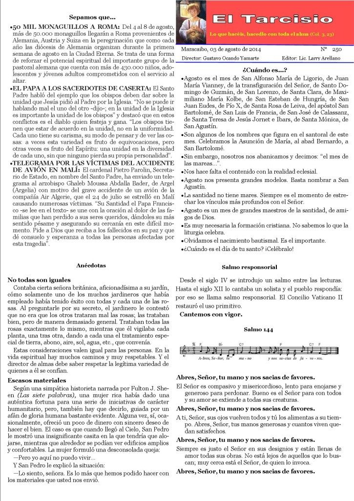 Semanario El Tarcisio del Padre Ocando su número 250
