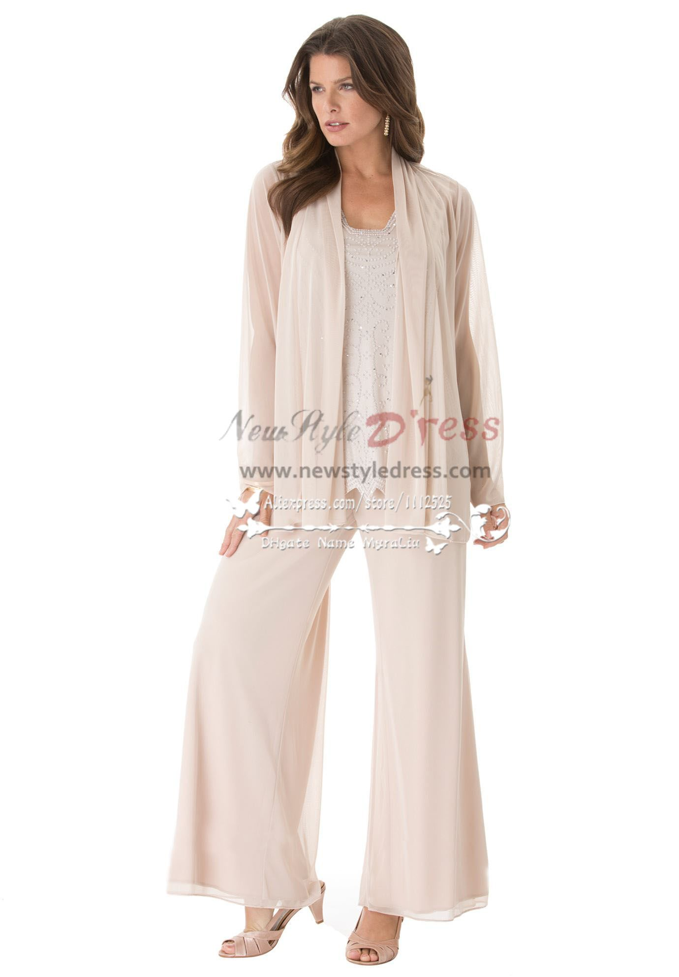 Fashion mother of the bride pant suits Plus size loose women ...