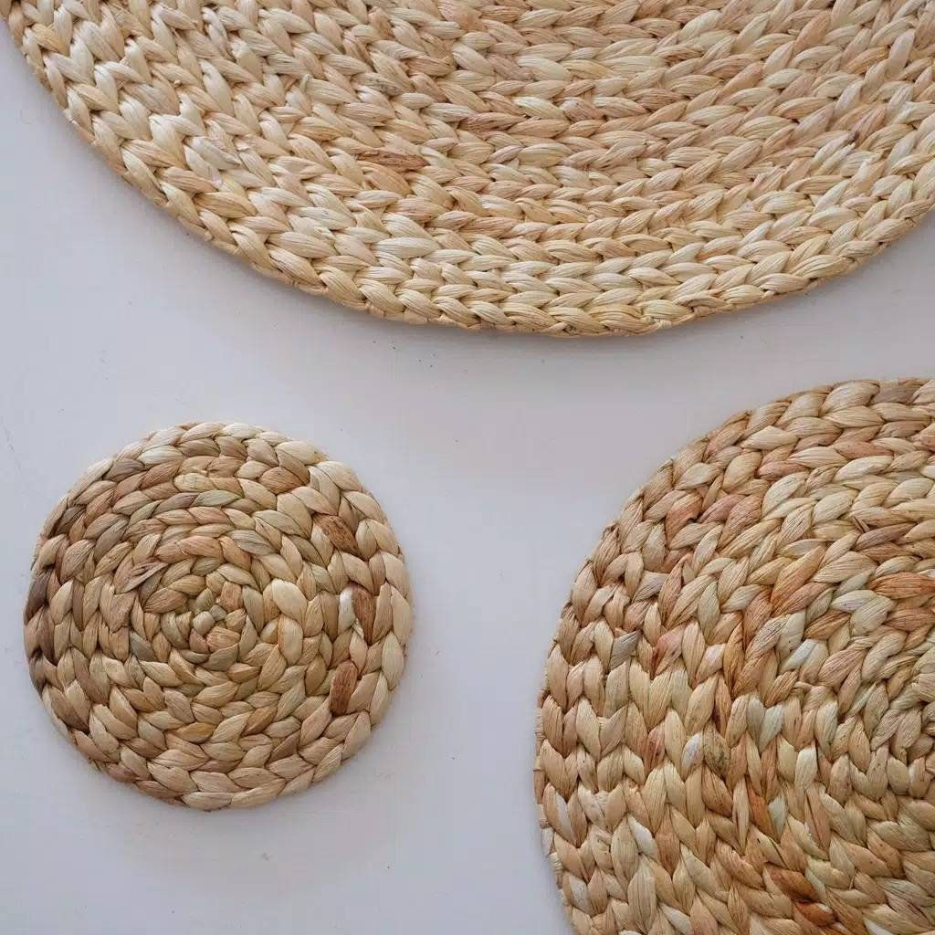 Natural Round Wicker Placemat Unique Woven Handmade Beige Etsy Natural Placemats Wicker Placemats Placemats