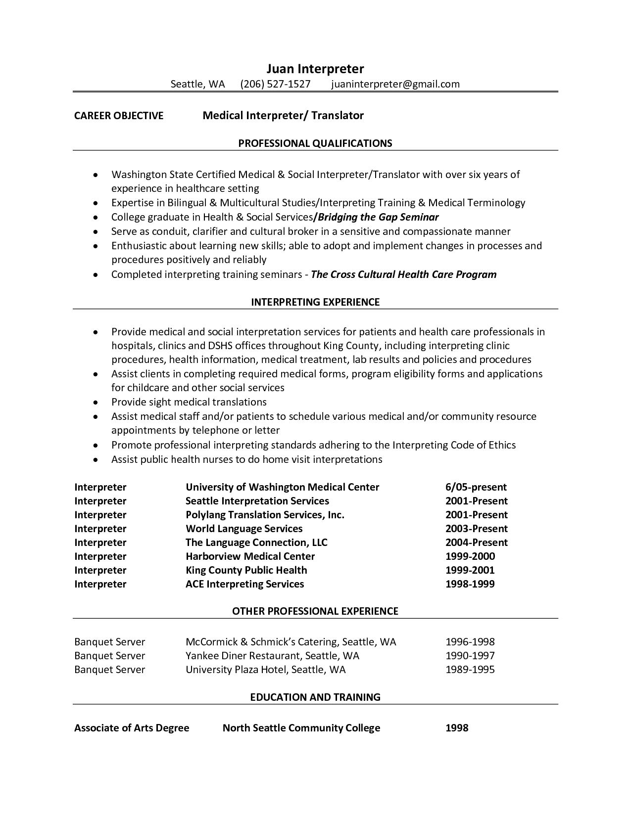Medical Interpreter Resume Objective Interpreter Resume Sample By