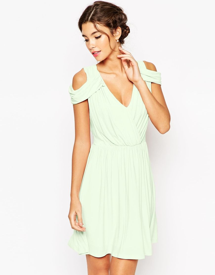 Image 1 Of Asos Wedding Drape Cold Shoulder Mini Dress