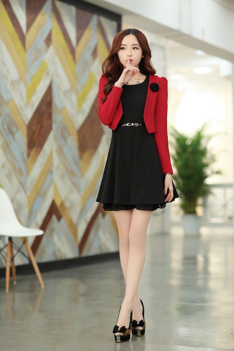 Elegant Costume Dress Sleeveless Short Jacket Lace Belt YRB2104 ...