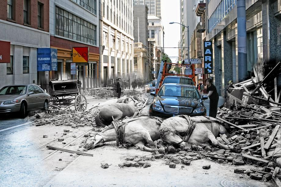 In this series of carefully Photoshopped images, photographer Shawn Clover created composite photographs that blend historical scenes from the 1906 San Francisco earthquake with his own present-day captures of the same locations.  Indescribable, ...