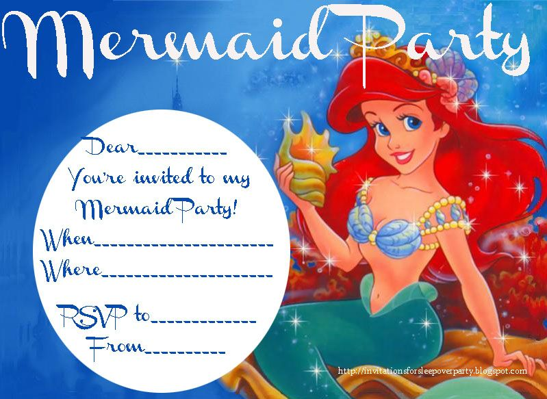 A mermaid themed party is a great idea because it lends itself to so this is a free printable mermaid party invitation just fill in the blanks to personalise it filmwisefo