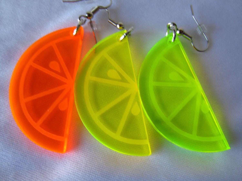 Lemon Lime Swirls Dangle Earrings