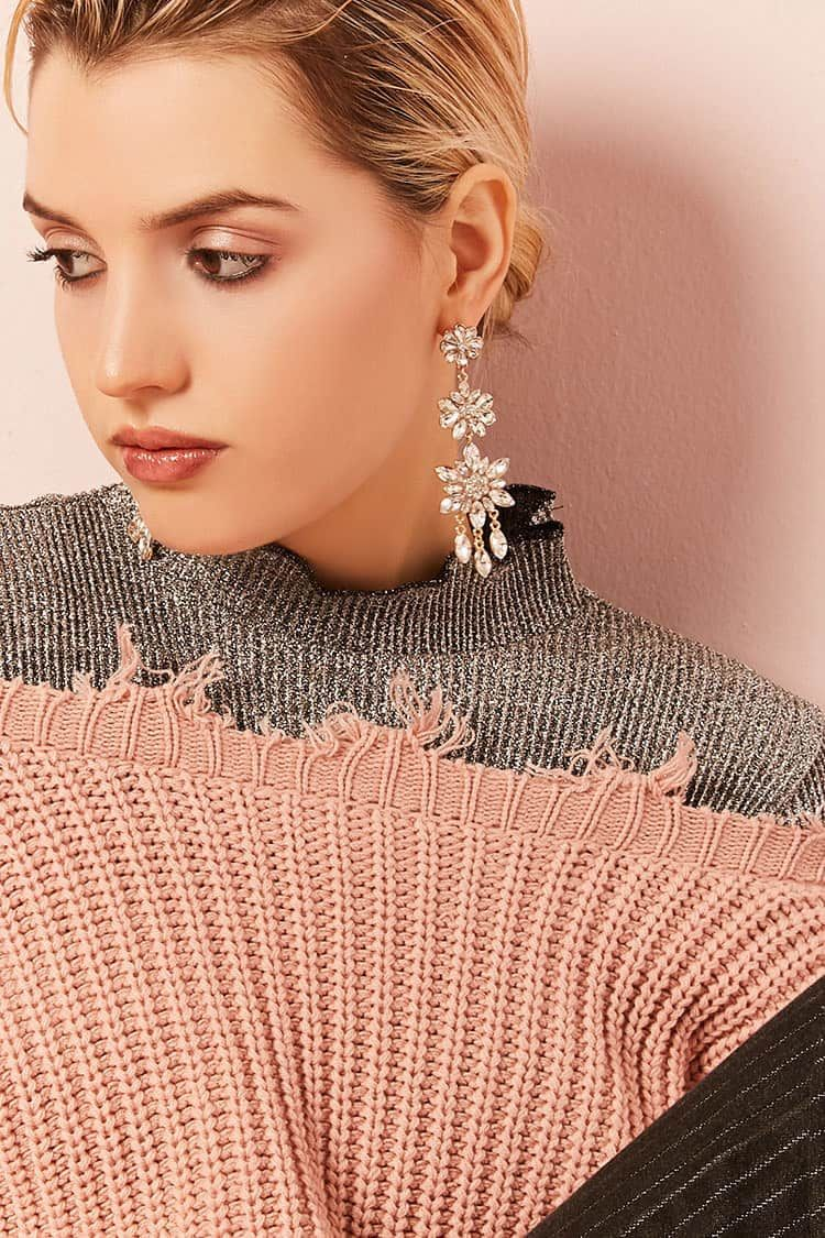 Diamante Flower Drop Earrings
