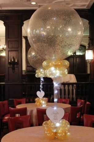 Gold Sparkle Balloon Centerpiece Balloon Centerpieces Pinterest