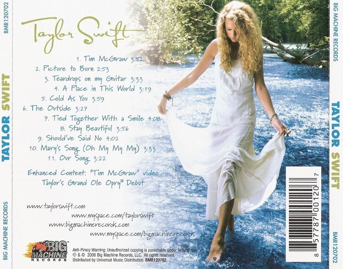 Taylor Swift Album Standard Edition Back Cover Track List 1 Tim Mcgraw 2 Pictur Taylor Swift Album Taylor Swift Album Cover Taylor Swift Tim Mcgraw