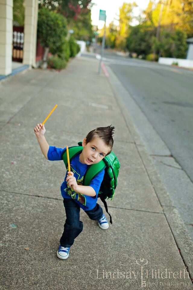 First day of pre school - pencil ninja - turtles - photography - shoot
