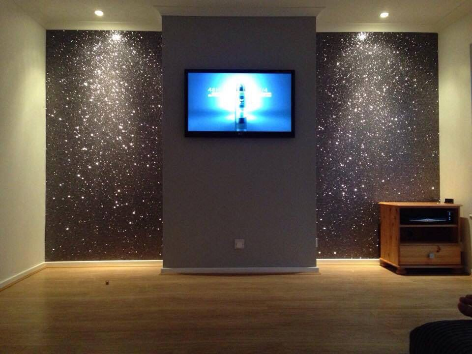 Living Room Dark And Light Gray With Sparkles Glitter Accent Wall Glitter Room Glitter Wall