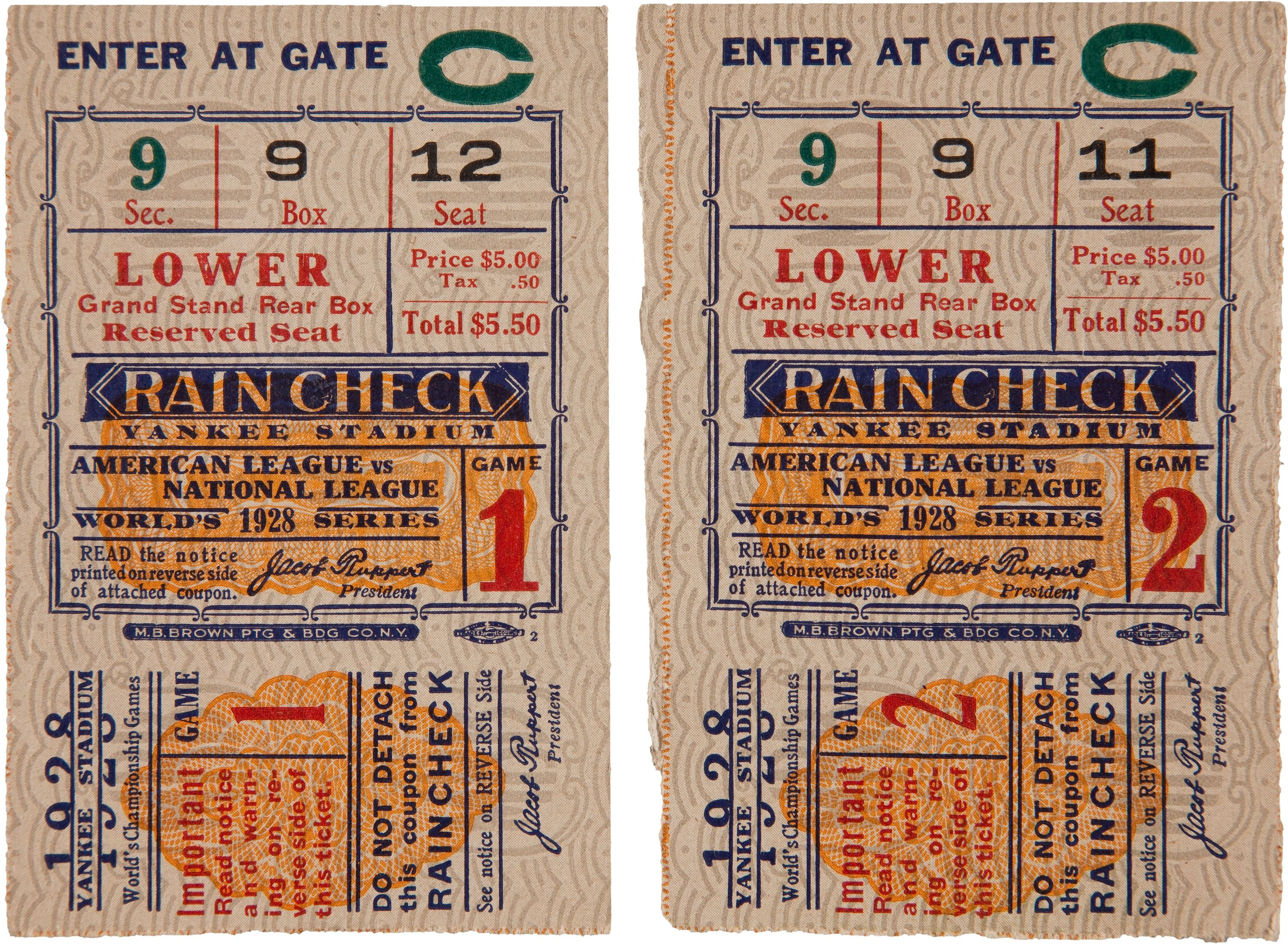 movie ticket stub wedding invitation%0A Baseball       World Series Games One  u     Two Ticket Stubs      A