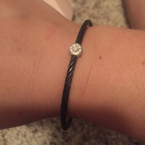 Alor bangle Black with single station (white gold/diamonds).  Worn a couple times, great condition Alor Jewelry Bracelets