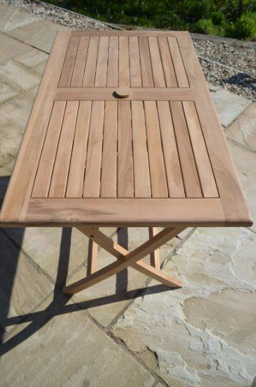Warwick - Solid Teak - 1.2m / 4ft Rectangular Folding Garden Table - 4-6 Seater: Amazon.co.uk: Garden & Outdoors