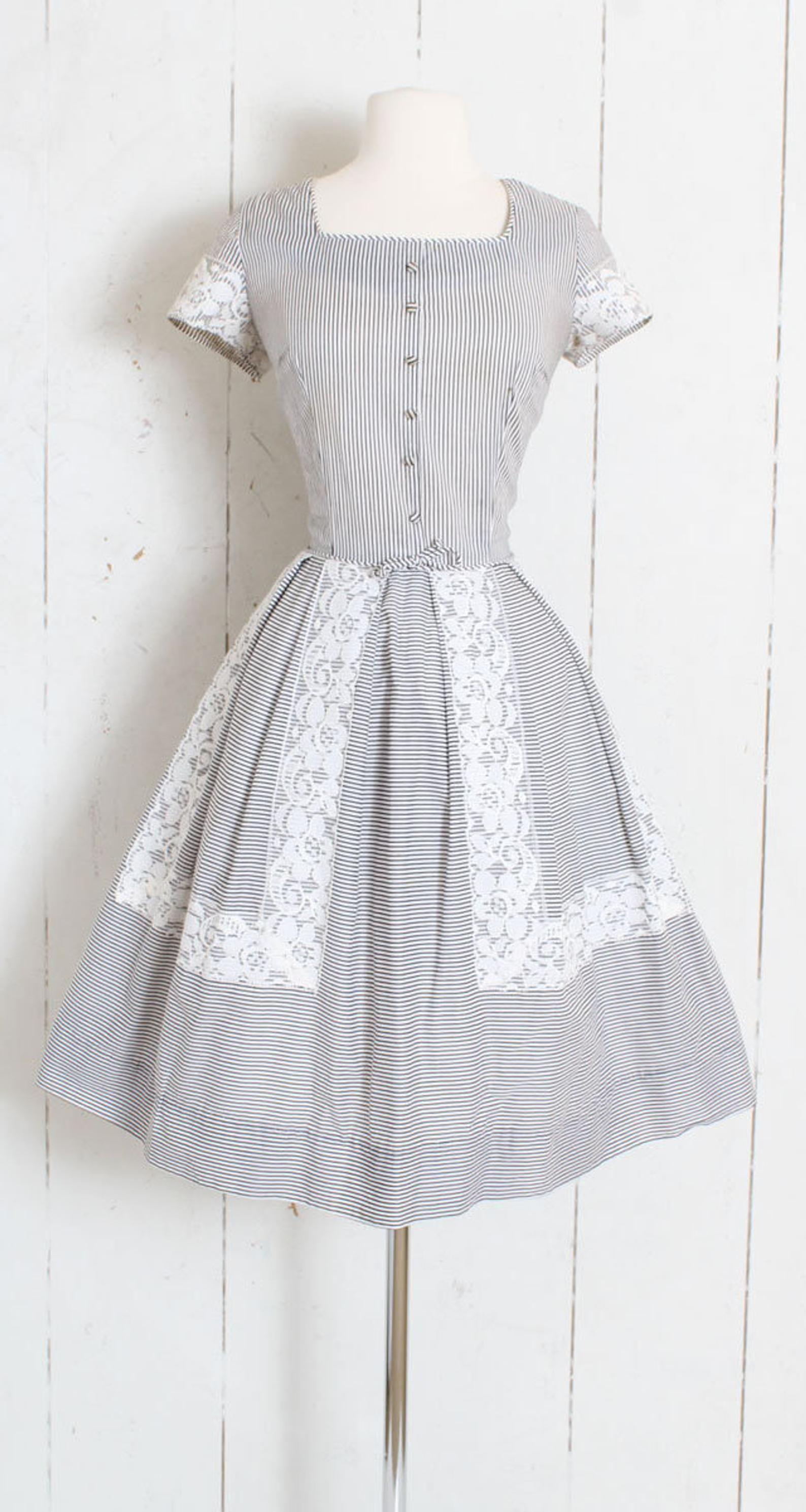 Vintage 1950s 50s Dress White Black Striped Lace Cotton Etsy Vintage Dresses 50s Dresses 50s Dresses [ 2978 x 1588 Pixel ]