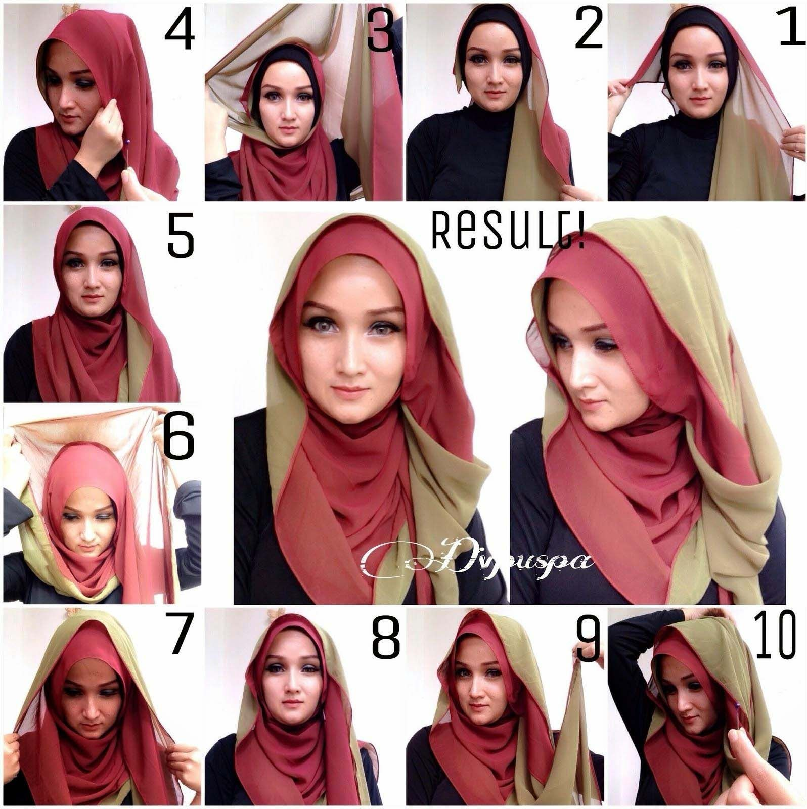 Different Hijab Styles Step By Step Hijab Style Pinterest