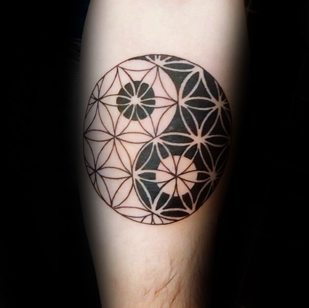 Yin Yang Male Flower Of Life Arm Tattoo Ideas
