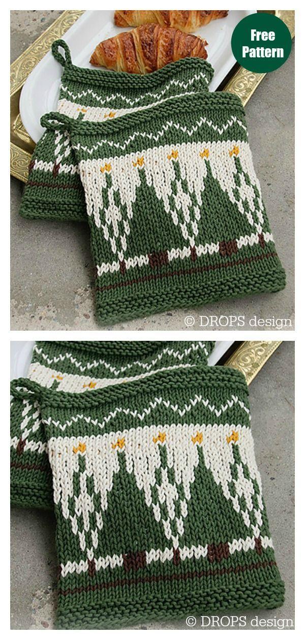 Christmas Potholders Free Knitting Pattern #freeknittingpattern  #knittingpatterns  #potholders  #christmasgiftideas