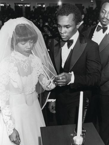 Sugar Ray Leonard and Juanita Wilkinson on their wedding