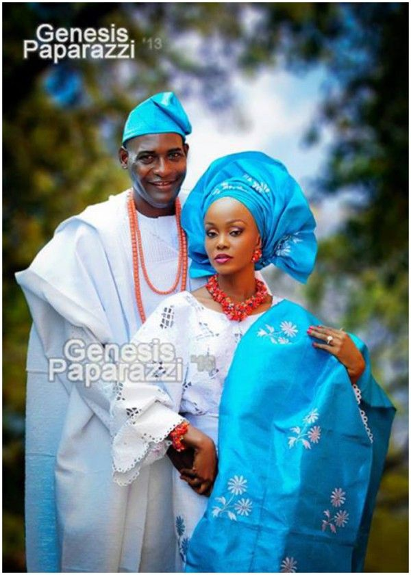 Blue And Silver Yoruba Wedding Attire