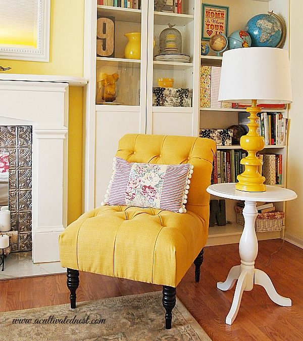 My French Yellow Tufted Chair #decoratingwithyellow, Yellow Accents