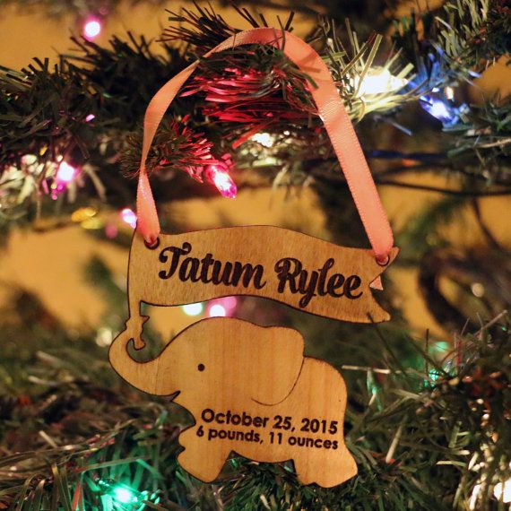 Personalized Elephant Ornament Baby's First by Shop231Designs