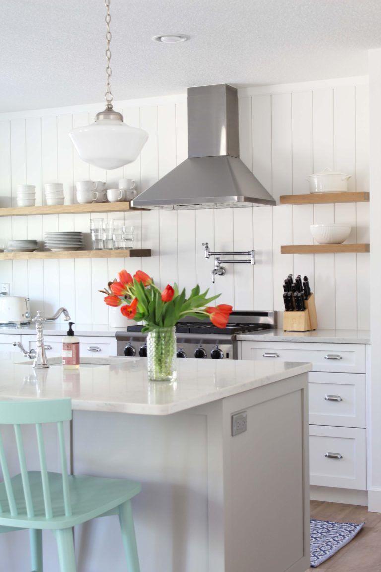 How To Install A Vertical Shiplap Backsplash A Nod To Navy In 2020 Shiplap Kitchen Kitchen Decor Inspiration Shiplap Backsplash
