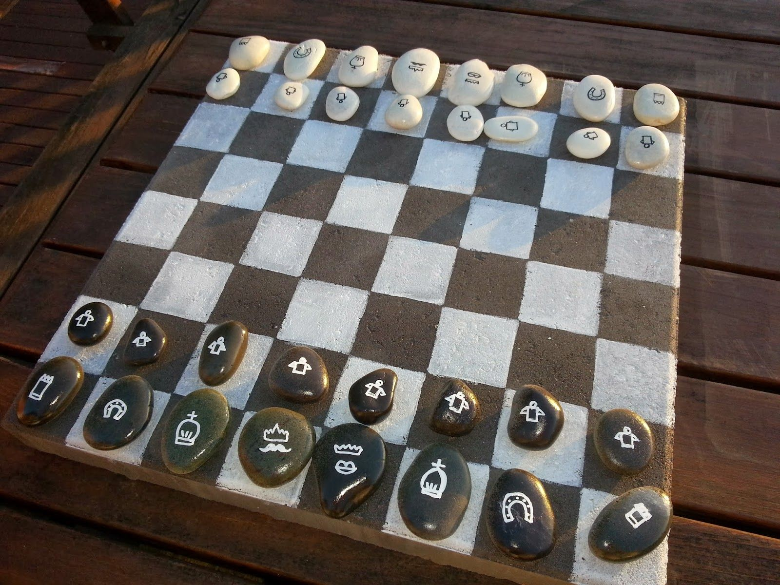 My DIY Outdoor Chess/Checkers Board Game | Checkers board ...