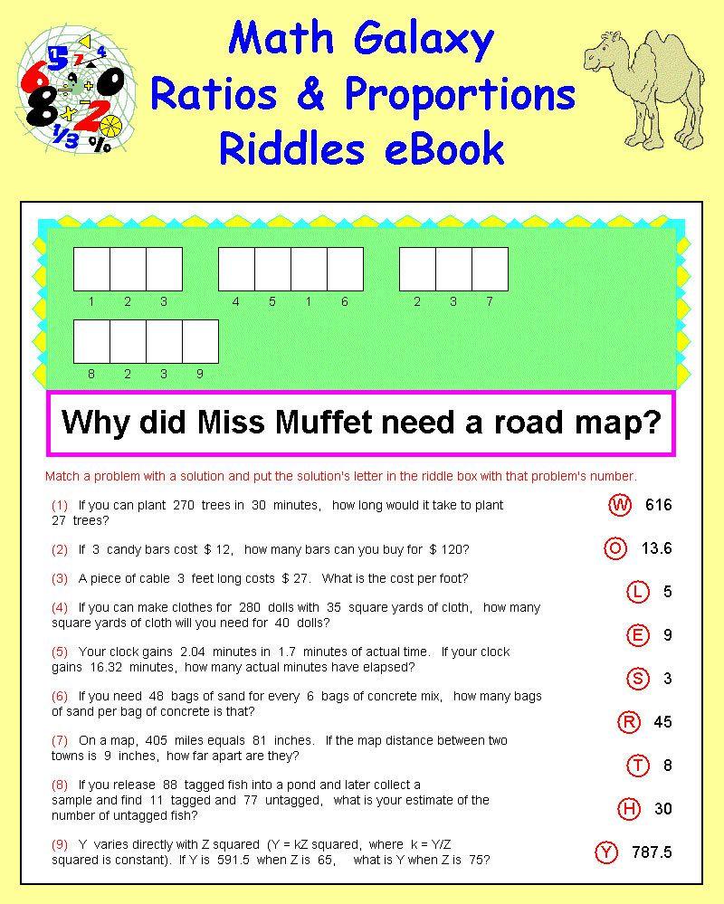 Math Galaxy Ratios Proportions Riddles Ebook Math Google Classroom Math Percent Word Problems