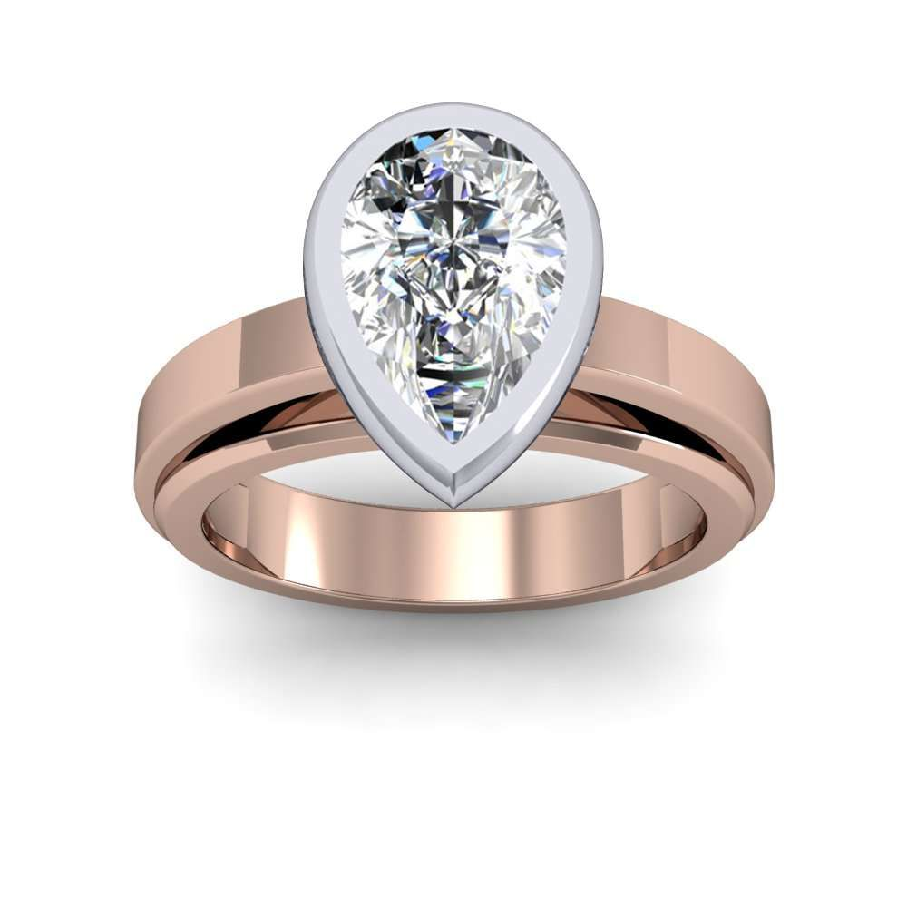Mm bezel design cathedral shank solitaire engagement ring pear