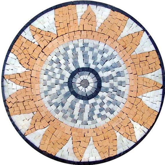 Jardín mosaico medallón sol por Mozaico en Etsy