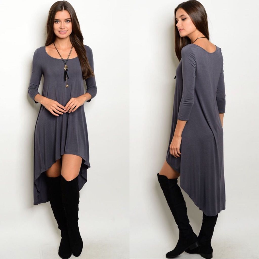 Last dark gray mid sleeve highlow dress high low dark grey and