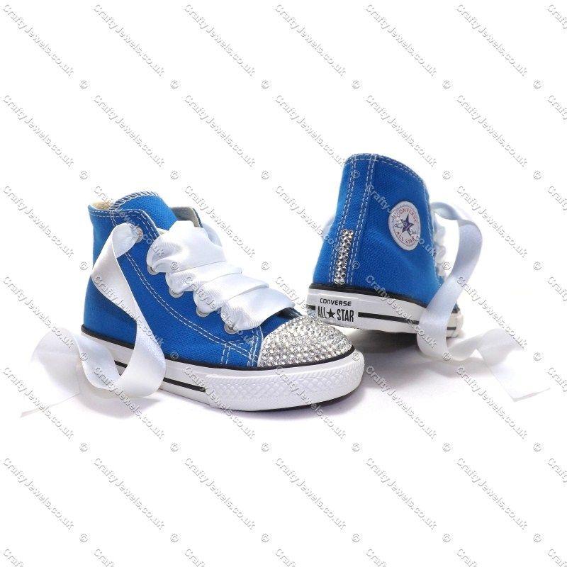 2dcd50ad6705 Swarovski or Diamante Crystal Kids Hi Top Converse in Electric Blue ...