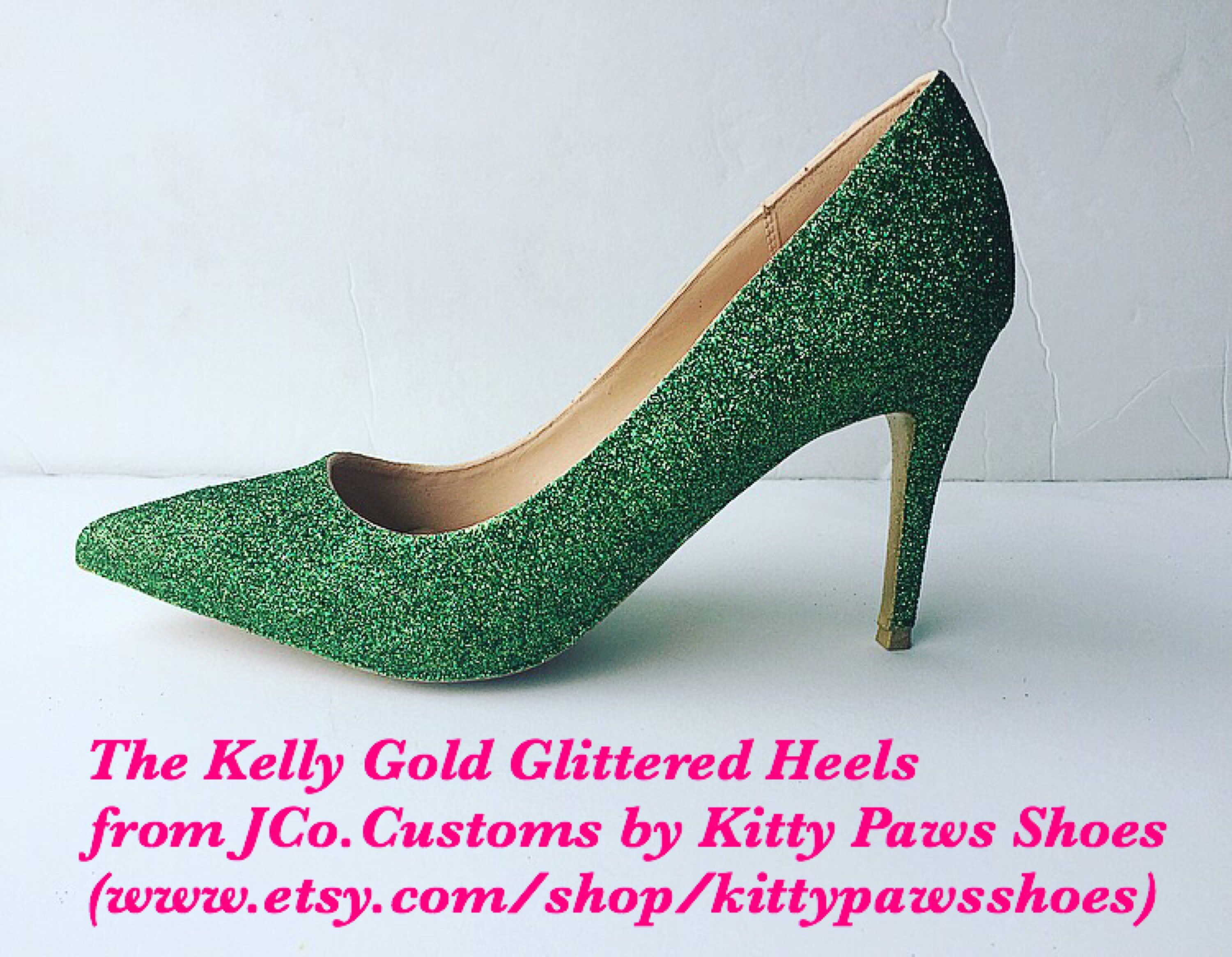 eb2678cab48f Excited to share this item from my  etsy shop  Women s Green Jade Dark  Green Emerald Holiday Christmas Thanksgiving Glitter Gold Pointy Heels from  JCo.