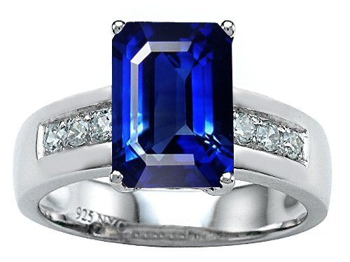 Original Star K(tm) Classic Octagon Emerald Cut 9x7 Engagement Ring With Created Blue Sapphire