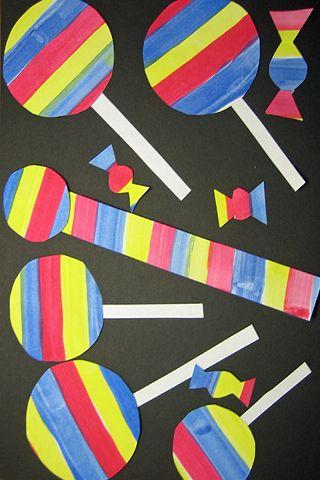 Maalaa valkoinen paperi eri väreillä. Vesivärin kuivuttua käännä paperi ja piirrä harppia tai pyöreäpohjaisia esineitä apuna käyttäen ympyröitä. Älä täytä koko paperia ympyröillä, jätä tilaa myös muille makeisille. Leikkaa ympyrät irti. Leikkaa jäljelle jääneestä paperista muut makeiset. Liimaa makeiset taustapaperille.