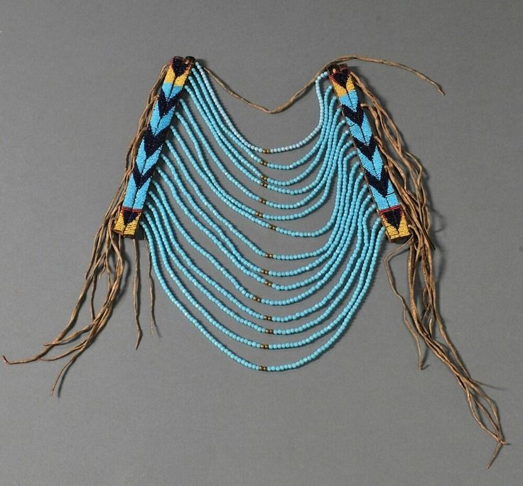 Northern Plains Beaded Commercial Leather and Hide Loop Necklace,  Multicolored chevron design and strands of large light blue beads, fringe down both sides  ca. late 19th century
