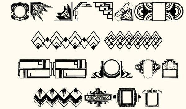 art deco motif font features art deco characters. Black Bedroom Furniture Sets. Home Design Ideas