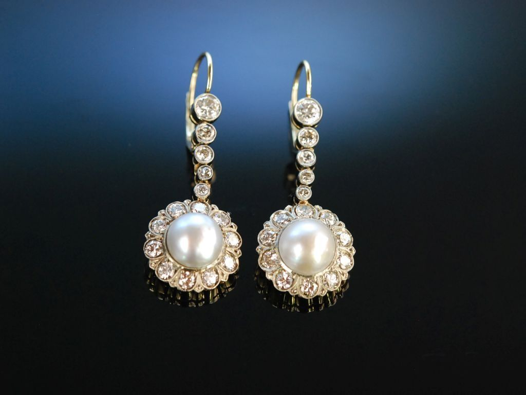 exquisite antique natural pearls earrings traumhafte historische ohrringe gold 585 14 karat. Black Bedroom Furniture Sets. Home Design Ideas