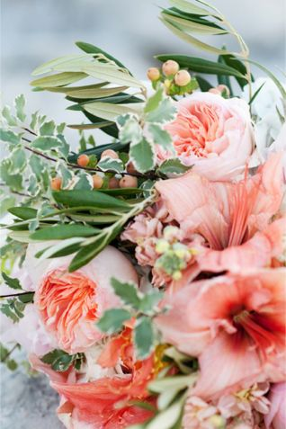 Amaryllis and peony bouquet | Kristina Curtis Photography | See more on http://burnettsboards.com/2014/01/mother-daughter-inspiration-shoot/