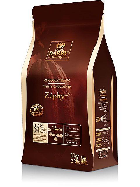Chocolat blanc Zéphyr en pistoles 34% en 1 kg - Cacao Barry
