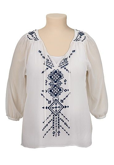 embroidered plus size peasant top (original price, $36) available
