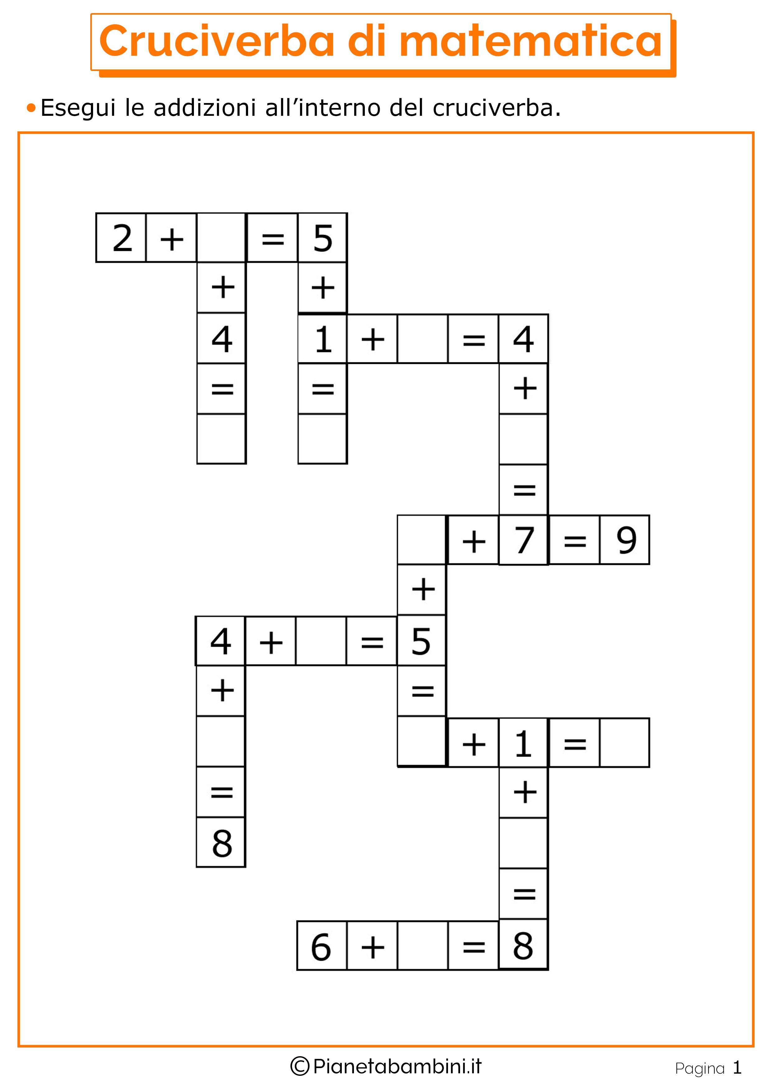 Cruciverba-Matematica_1.png (2480×3508) (con immagini ...