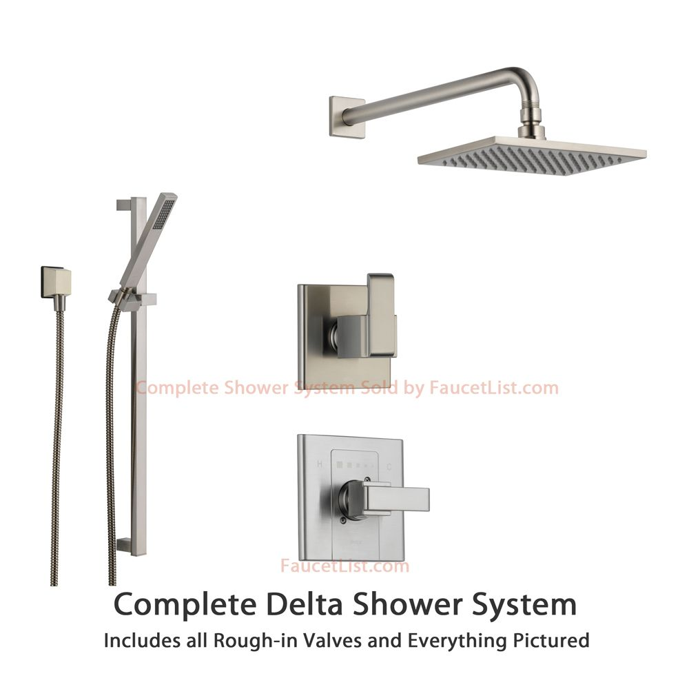 Delta Shower Diverter Delta Arzo Stainless Steel Shower System With Normal Shower Handle