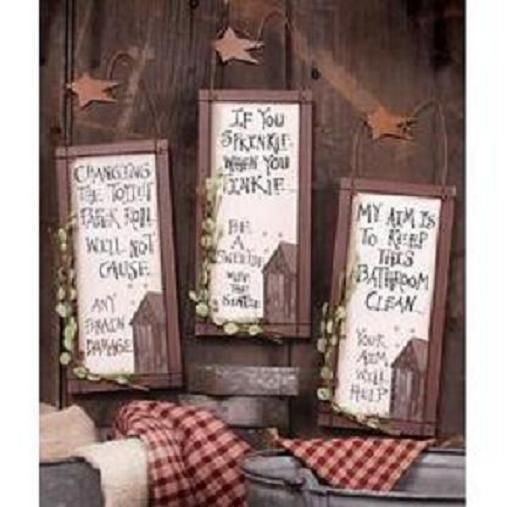 3 OUTHOUSE WOOD~PRIMITIVE BATHROOM SIGNS Wall Decor with HANGERS