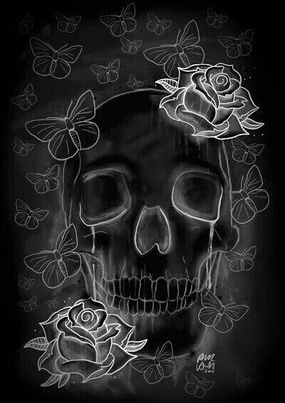 DS STAR - Skull & Roses (X-ray Art)   Skull wallpaper ...