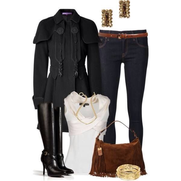 Black Wool Peacoat paired with Dark Blue jeans and Black knee height boots
