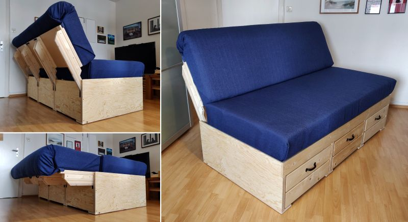Diyer Builds Convertible Sofa Bed With Storage In 2020 Diy Sofa