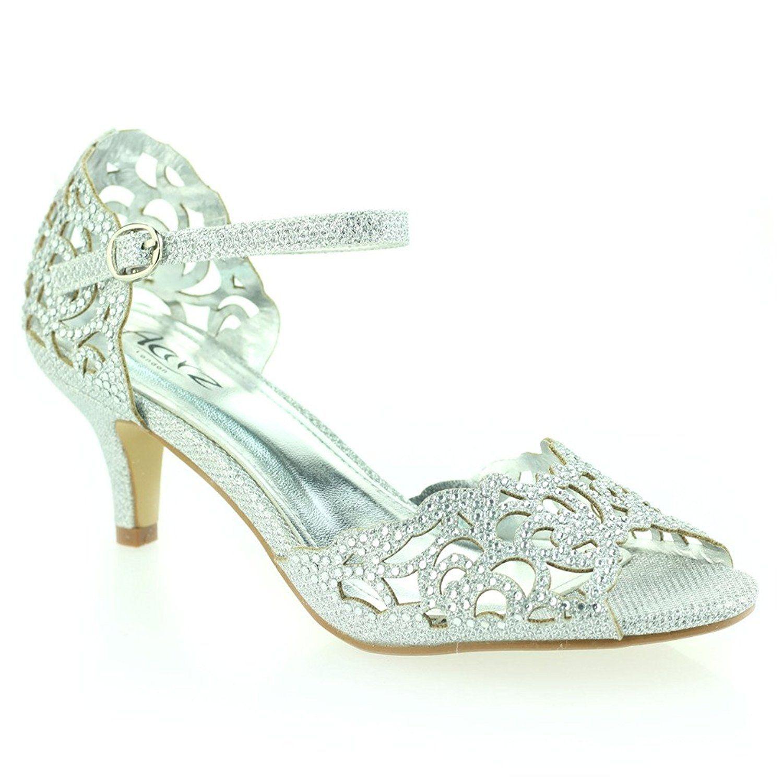 c0e799ac2657 Women Ladies Opentoe Diamante Mid Heel Evening Wedding Party Silver Sandals  Shoes Size 5  Amazon