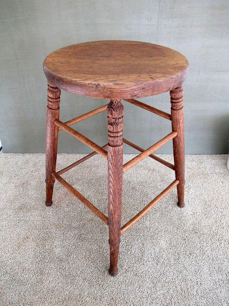 Peachy Antique Stool Vintage Primitive Oak Wood 24 Tall Round 14 Machost Co Dining Chair Design Ideas Machostcouk