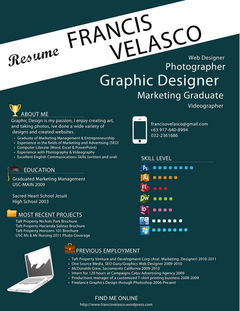 ehskill level section is kinda cool - Graphic Designers Resumes